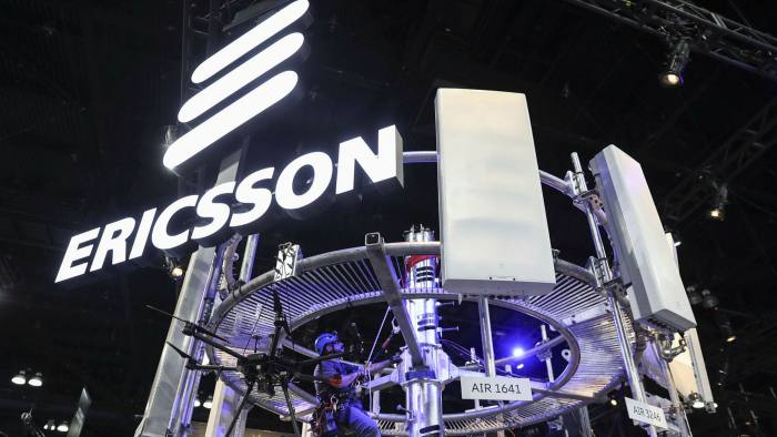 An Ericsson display of 5G wireless radio antennas at a Mobile World Congress event in the US