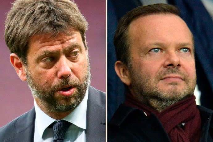Juventus's Andrea Agnelli, left, resigned as chair of the European Club Association and left his position at Uefa. Ed Woodward, executive vice-chair of Manchester United, also announced he was resigning