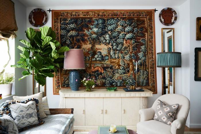 A tapestry in designer Martin Brudnizki's New York apartment