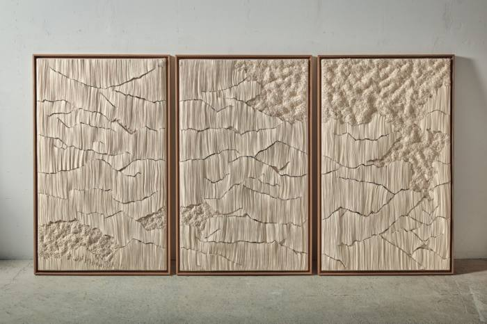 Cotton, wood and pins Triptyque, 2020, by Simone Pheulpin, €70,000, from Maison Parisienne