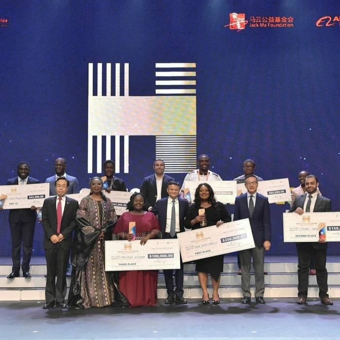 Jack Ma with the winners of his 'Africa's Business Heroes' TV competition in 2019. The usuallyhigh-profile Mr Ma missed the November final of last year's contest