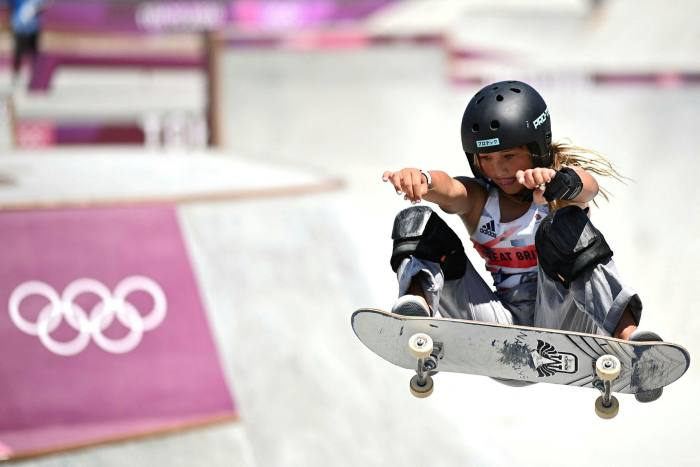Britain's Sky Brown competes in the women's Park final during the Tokyo Games
