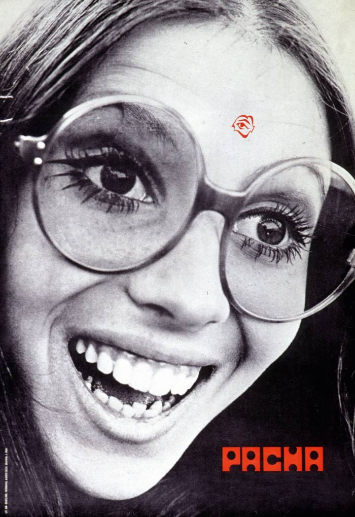 An early-1970s Pacha poster featuring (on forehead) the club's originallogo