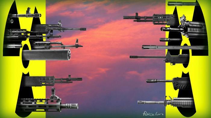 James Ferguson illustration of Gideon Rachman column 'Breakdown of nuclear deterrence makes Xi-Modi relations critical'