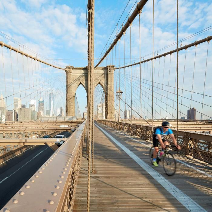Enjoy the views from Brooklyn Bridge over lower Manhattan...