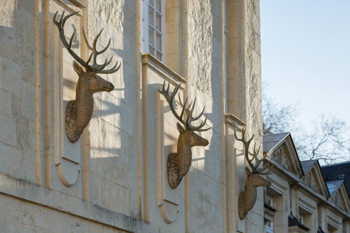 Sculptor Alban Reybaz studied living deer in Hungary before crafting these stags
