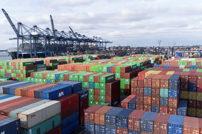 Thousands of shipping containers lie at the Port of Felixstowe in Suffolk
