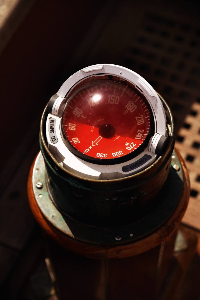 A yacht's binnacle compass aboard a project at the Elephant Boatyard