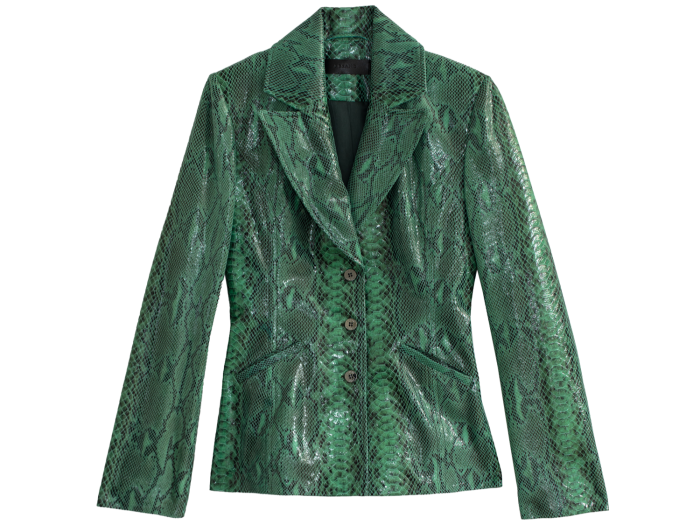 The nine-piece range – priced from £280 – features this tailored leather jacket in Veiled Snake