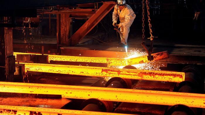 A labourer at a steel factory