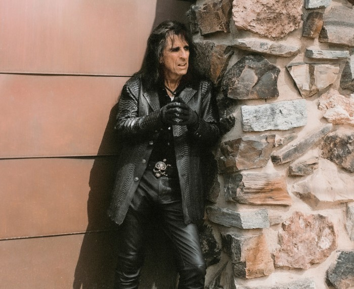Alice Cooper at the Larsen Gallery in Scottsdale, Arizona, through which he is auctioning his Warhol silkscreen