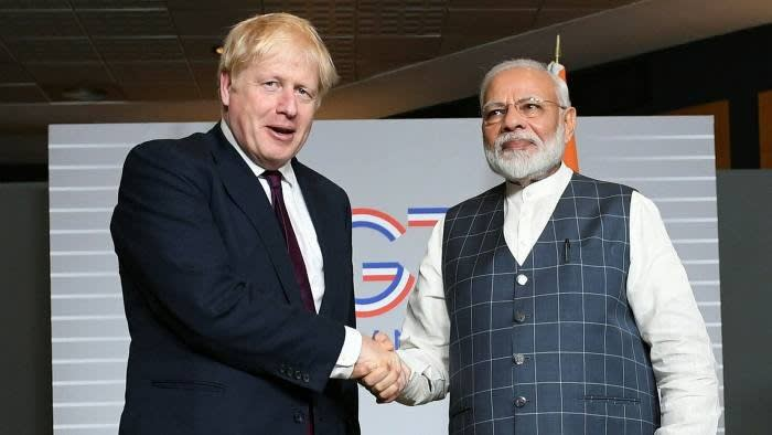 Boris Johnson and Narendra Modi at a G7 summit in 2019. Johnson said the deals would take the relationship between the UK and India to 'new highs' © Stefan Rousseau/Getty Images
