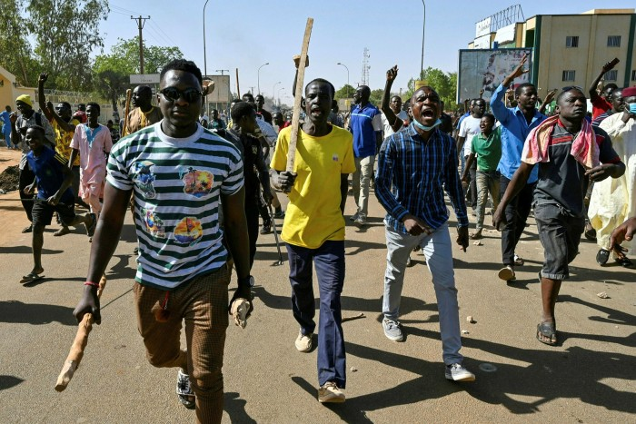 Activists in Niger protest against the results of the presidential run-off this February. An attempted coup in the Sahelian state was thwarted just days earlier