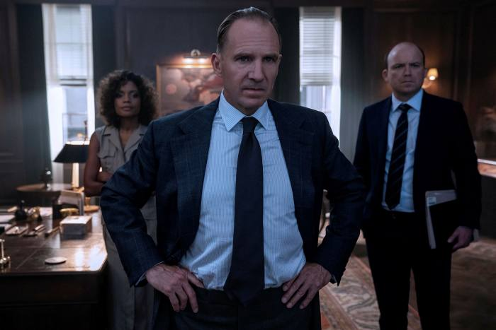 Ralph Fiennes returns as M, with Naomie Harris as Moneypenny and Rory Kinnear as Tanner