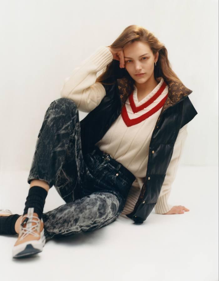 Louis Vuitton leather jacket, £4,800. Alex Eagle cashmere Cricket jumper,£420. Martine Rose denim Maynard jeans, £275. Pantherella woolsocks, £14.50. On Running Cloudaway running shoes, £130. Bottega Veneta sterling-silver earrings, £270 for a pair. Chanel leatherbelt, £1,005