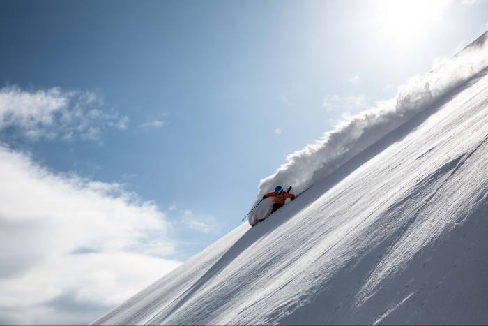 On their first day, Robbins and his fellow skiers got eight runs in – or 6,000 vertical metres