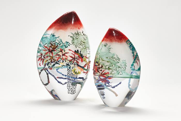 Enamel and glass Shadows of Willow and Acer, 2020, by Sophie Layton, £750 each or £1,300 for pair, from London Glassblowing