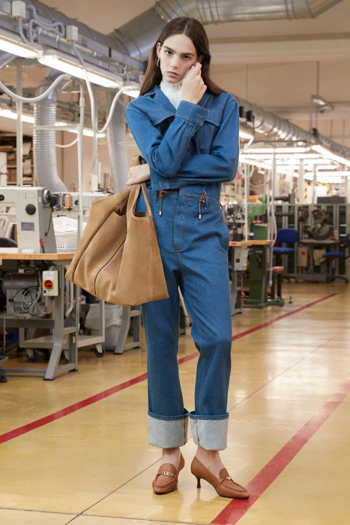 A denim jumpsuit from Tod's