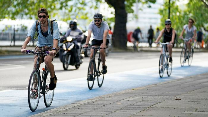 Weekend cycling in London has soared as much as 240 per cent from last year