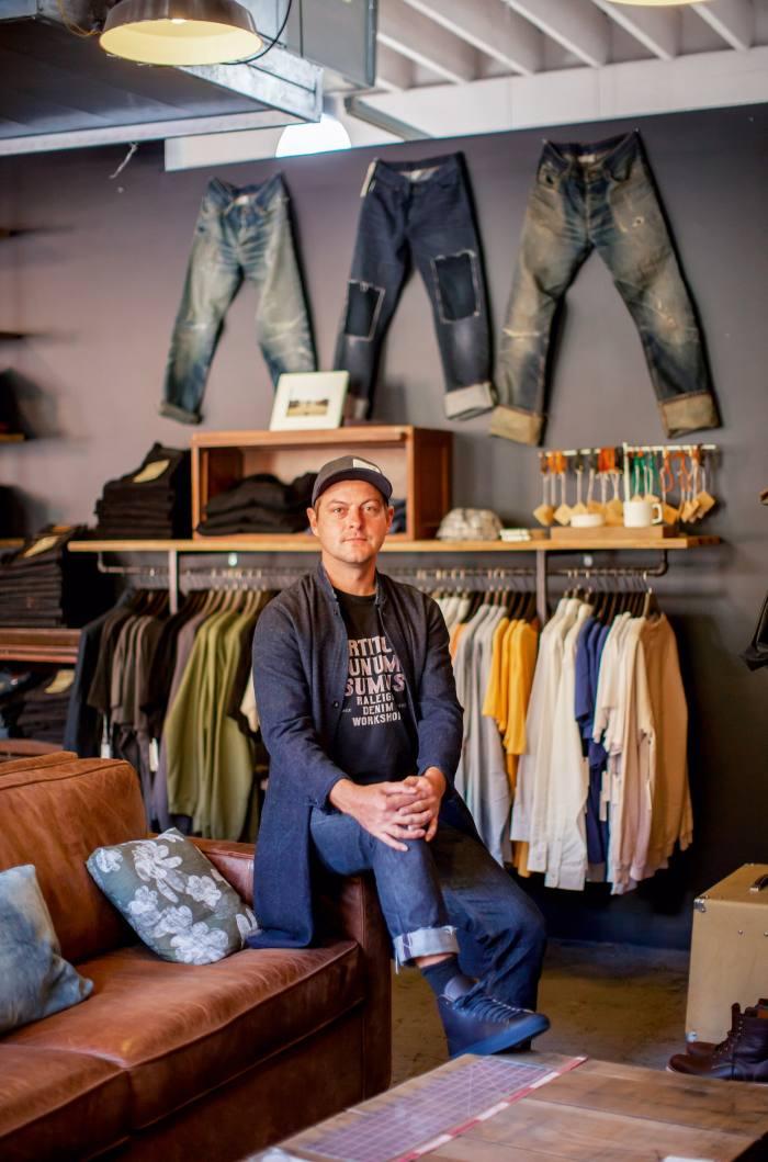 Lytvinenko wearing the brand's Martin Vidalia Mills New American jeans, $425