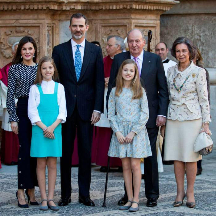 King Felipe VI, third from left, with his father Juan Carlos and other members of the royal family in Palma de Mallorca in 2018