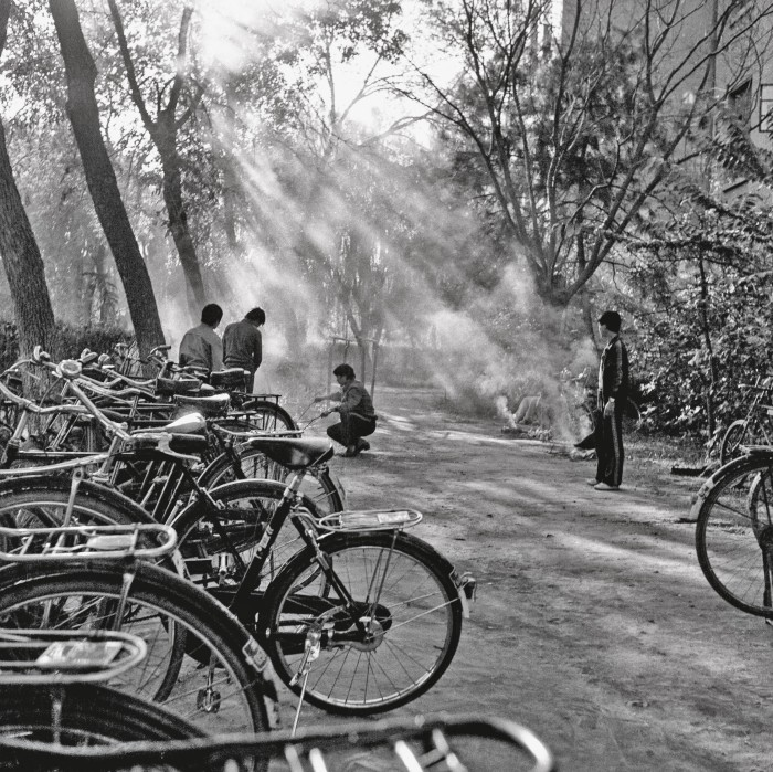 A barbecue by the bikes on the Beijing Normal University campus