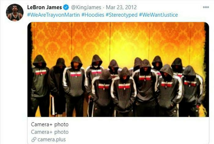 LeBron James tweeted a photo of Miami Heat players wearing hoodies to protest the death of black teenager Trayvon Martin
