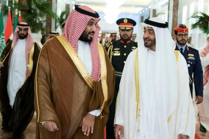Saudi Crown Prince Mohammed bin Salman and Abu Dhabi's Crown Prince Sheikh Mohammed bin Zayed al-Nahyan