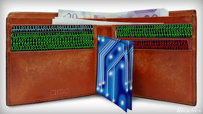 James Ferguson illustration of Martin Wolf column 'Money must adapt to an era of new technology'