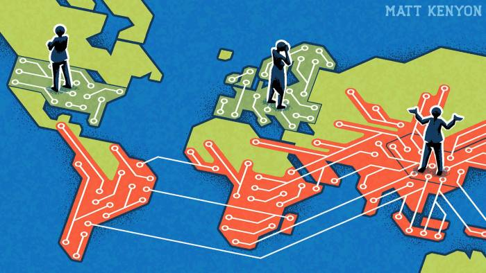 Matt Kenyon's illustration of Rana Foroohar column 'We need a Transatlantic Tech Detente'