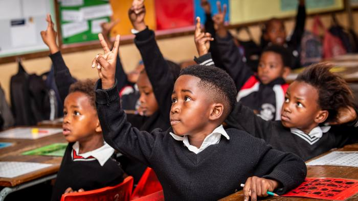 Young South African students in a classroom