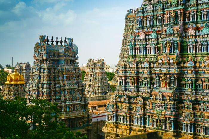 Decorative buildings in Madurai, in the Indian state of Tamil Nadu