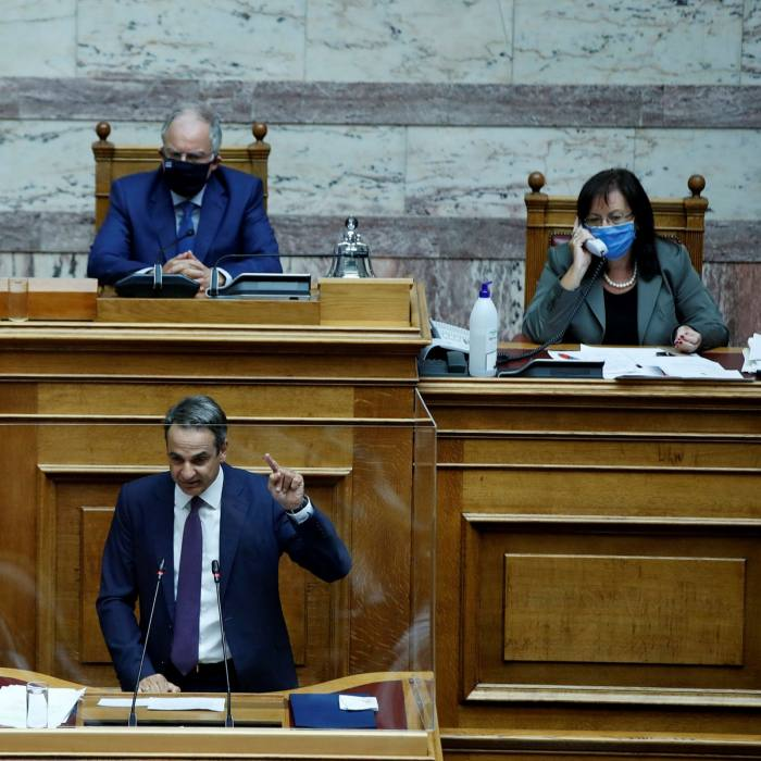 Greek prime minister Kyriakos Mitsotakis speaks during a parliamentary debate in Athens. Greece has led calls for EU sanctions against Turkey