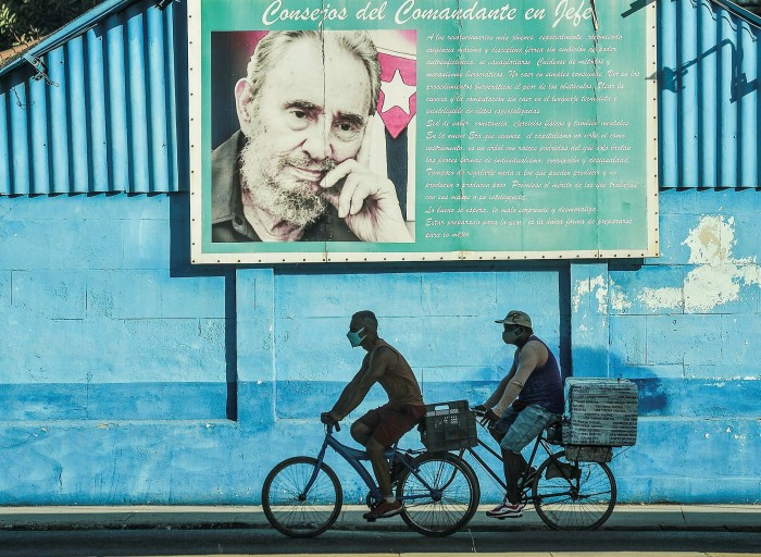 A poster of the late Cuban leader Fidel Castro in Havana