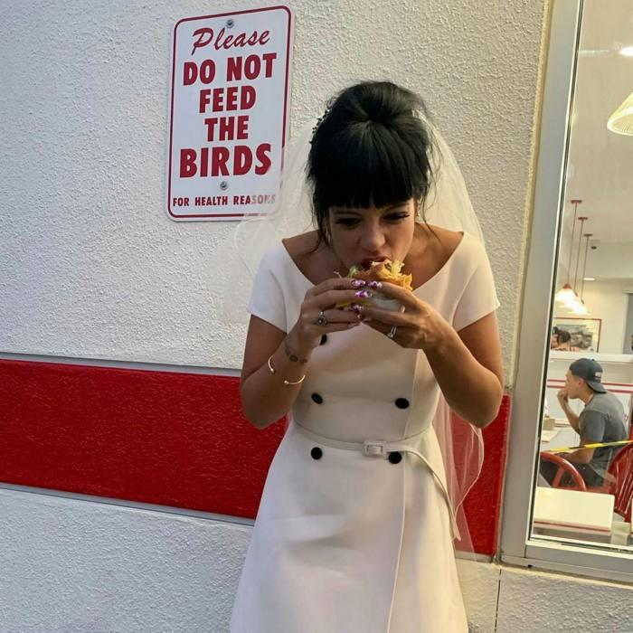 Lily Allen in Dior at her Las Vegas wedding last month