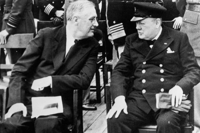 Franklin Roosevelt, left, with Winston Churchill in 1941 on board the HMS Prince of Wales in Newfoundland
