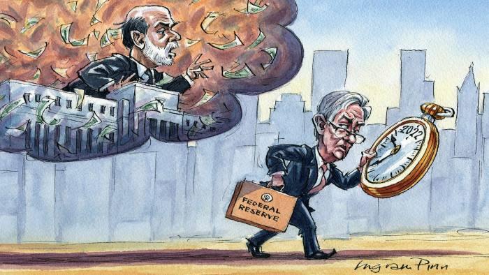 Ingram Pinn illustration of Gillian Tett column on Powell