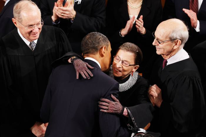 Ruth Bader Ginsburg with fellow Supreme Court justices in January 2011 at President Barack Obama's State of the Union address. Ginsburg's death opened up the prospect of a Supreme Court slanted six to three in favour of conservatives