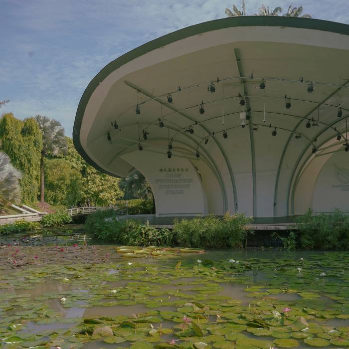 The Shaw Foundation Symphony Stage stands in the middle of a lake