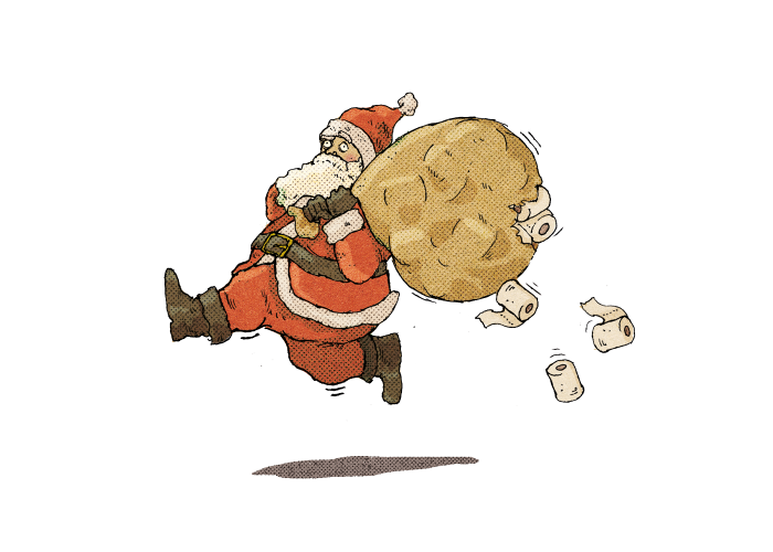A drawing of a Father Christmas running along with a sack stuffed so full of toilet rolls that some of them are bursting through the sack and falling out behind him
