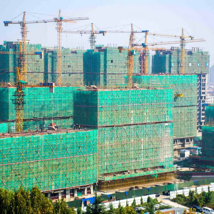 Property under construction in Qingzhou City, Shandong province, last month