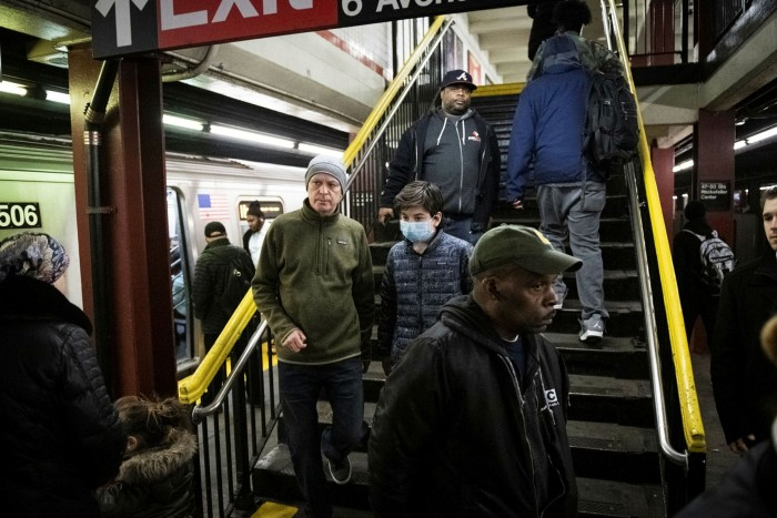 A New York subway station in March