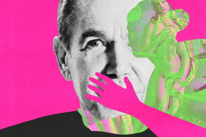 A montage featuring the face of Jeff Koons