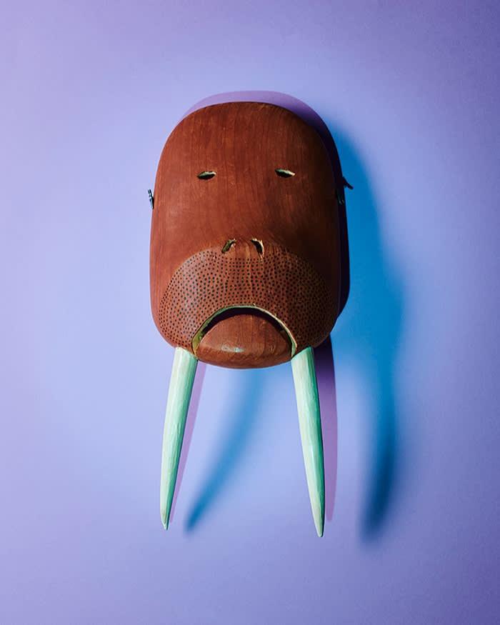 Inupiat bull walrus mask, by Paul Tiulana; King Island, Alaska, US. Early 1980s