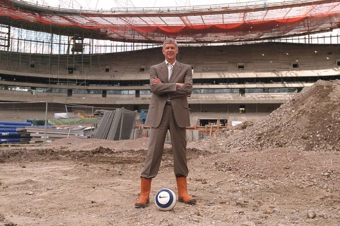 Construction of the 60,000-seater Emirates Stadium in 2005. The move made Arsenal one of Europe's biggest clubs but the cost saw them fall behind richer rivals on the field
