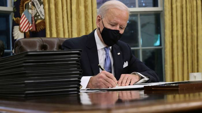 Biden's first week: flurry of executive orders and frustrations of  governing | Financial Times