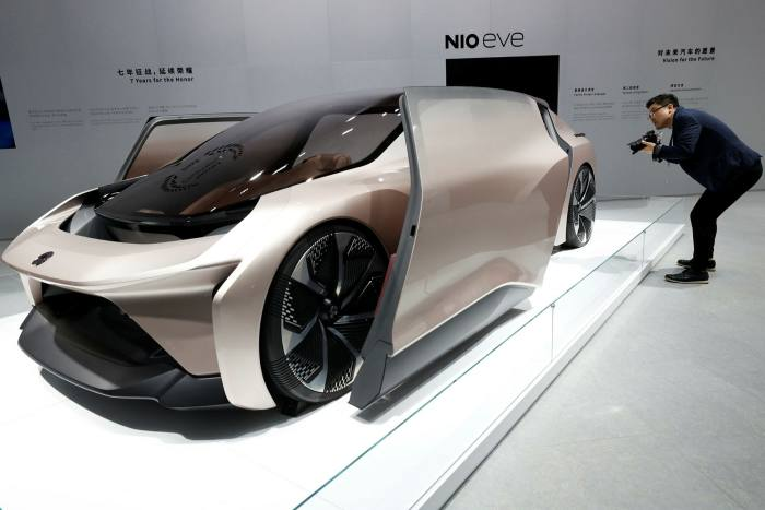 The NIO eve concept car displayed during the Shanghai Auto Show in April