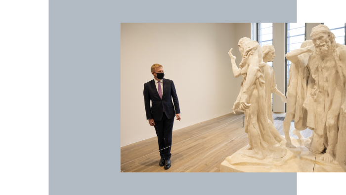 Culture secretary Oliver Dowden visits Tate Modern on its reopening, May 2021