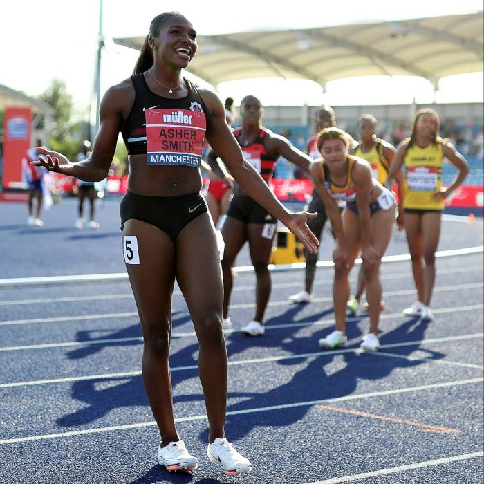 Dina Asher-Smith wins the Women's 100m Final during the British Athletics Championships at Manchester Regional Arena last month