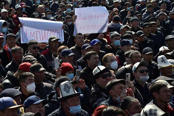 Mass protests have been held in Kyrgyzstan against the results of Sunday's parliamentary election